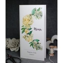 menu z motywem kwiatowo - botanicznym