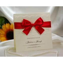 zaproszenie ślubne z koronką