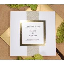 zaproszenia ślubne brokatowe