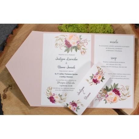 Zaproszenie w folderze z motywem kwiatowym  - PROMOCJA