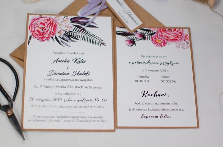 Zaproszenia ślubne Otwartejednokartkowe Pracownia Manufaktura