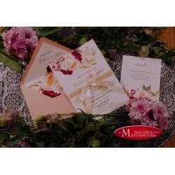 Zaproszenia ślubne otwarte/jednokartkowe z piwoniami