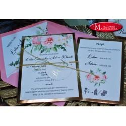 Zaproszenia ślubne złoto i butelkowa zieleń
