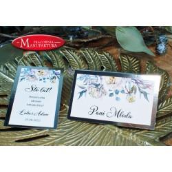 winietki weselne karteczki ślubne srebro i jasne kwiaty
