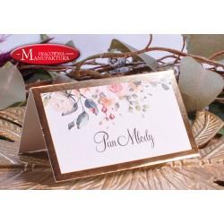 winietki weselne karteczki ślubne złoto i jasny róż