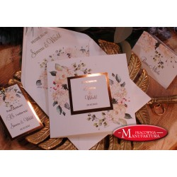 Zaproszenia ślubne złoto i kremowe kwiaty
