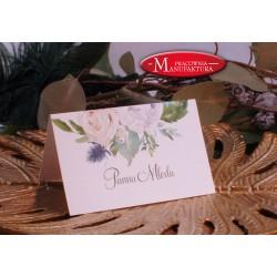 winietki weselne karteczki ślubne srebro i błękitne kwiaty