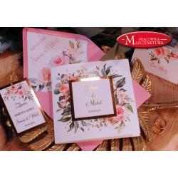 Zaproszenia ślubne złoto i pudrowe kwiaty