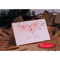 winietki weselne karteczki ślubne złoto i pudrowe kwiaty