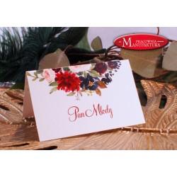 winietki weselne karteczki ślubne złoto i bordowe kwiaty