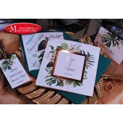 Zaproszenia ślubne złoto i tropikalne liście