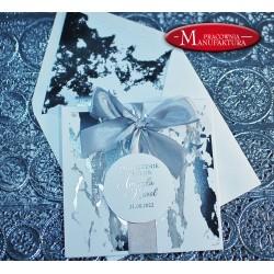 Marmurkowe srebrzone zaproszenia ślubne