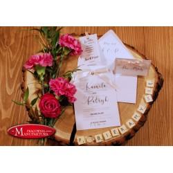 zaproszenia ślubne z pergaminem pudrówy róż