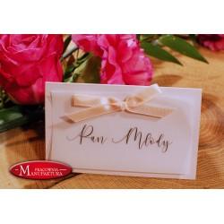 winietki weselne karteczki ślubne pudrówy róż i pergamin