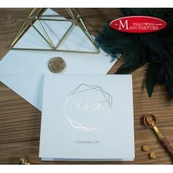 minimalistyczne złocone zaproszenia ślubne