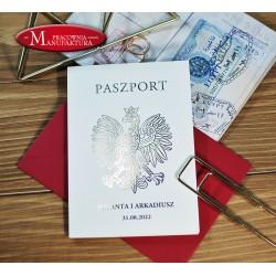 złocone zaproszenie paszport z fotografią
