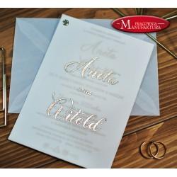 Złocone zaproszenia ślubne z kalką
