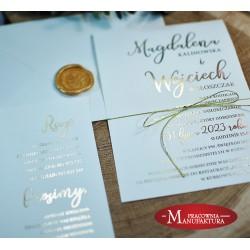 Delikatne złocone zaproszenia ślubne
