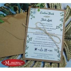 Rustykalne zaproszenia ślubne z motywem leśnym