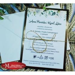 Zaproszenia ślubne biało złote z motywem jasnych kwiatów