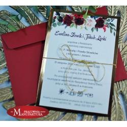 Zaproszenia ślubne biało złote z motywem bordowych piwonii i róż