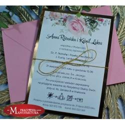 Zaproszenia ślubne biało złote z motywem różowych róż