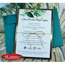 Zaproszenia ślubne biało złote z motywem tropikalnym