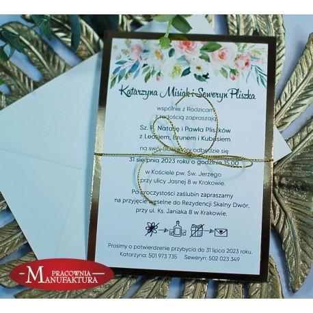 Zaproszenia ślubne biało złote z motywem piwonii