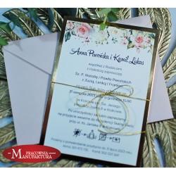 Zaproszenia ślubne biało złote z motywem pastelowych róż