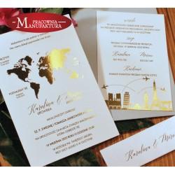 złocone zaproszenia ślubne - w podróży...