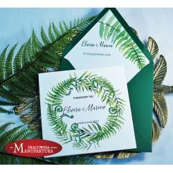 Zaproszenia ślubne biało zielone z motywem paproci