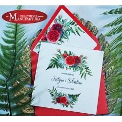 Zaproszenia ślubne z motywem czerwonych róż