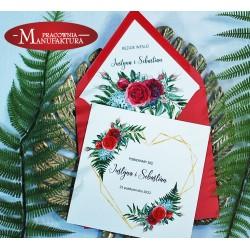 Zaproszenia ślubne z motywem serca geometrycznego i czerwonych róż