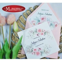 Zaproszenia ślubne z motywem pudrowo różowych peonii