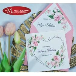 Zaproszenia ślubne z motywem różówych kwiatów
