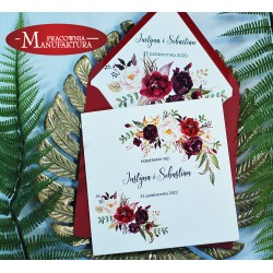 Zaproszenia ślubne z motywem bordowych kwiatów