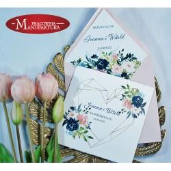 Zaproszenia ślubne z pudrówy róż i navy blue
