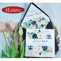 Zaproszenia ślubne navy blue i pudrowy róż