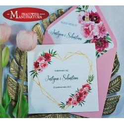 Zaproszenia ślubne różowe kwiaty z geometrycznym sercem