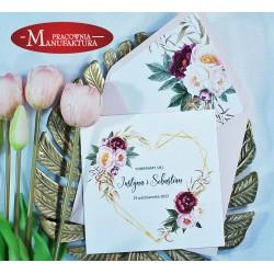 Zaproszenia ślubne pudrowy róż i burgund