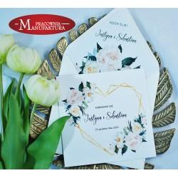 Zaproszenia ślubne jasne kwiaty