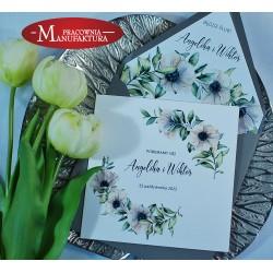 Zaproszenia ślubne białe anemony
