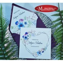 Zaproszenia ślubne fioletowe anemony