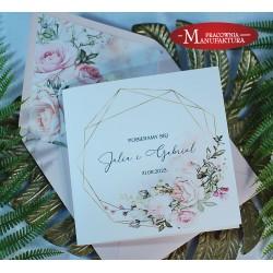 Geometryczne zaproszenia ślubne pudrowe róże