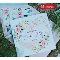 Geometryczne zaproszenia ślubne różowe piwonie