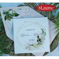 Geometryczne zaproszenia ślubne kremowe kwiaty