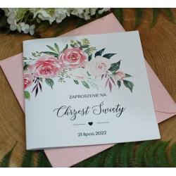 zaproszenia na chrzest z różowymi kwiatami