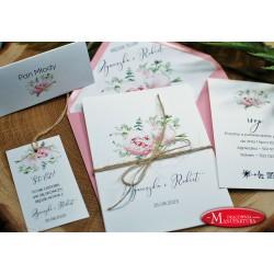 Zaproszenia ślubne z różowymi kwiatami