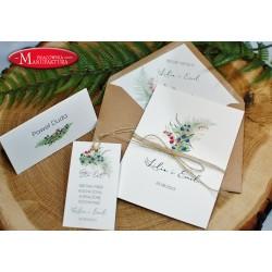 Zaproszenia ślubne z motywem leśnych owoców