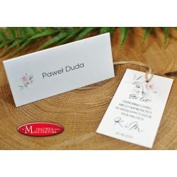 winietki weselne karteczki ślubne z różą